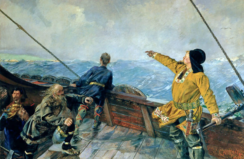 """Leif Erikson discovers America"" by Christian Krogh (1893)"